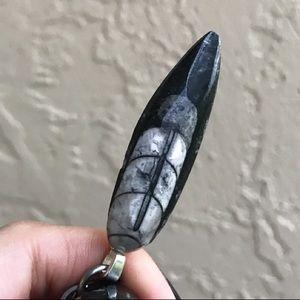Silverskylight Jewelry - Genuine fossil orthocera steel rustic necklace